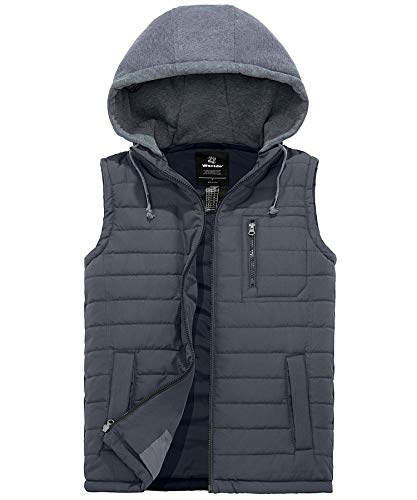 Wantdo Men's Water Repellent Puffer Vest Warm Sleeveless Winter Jacket Grey, M