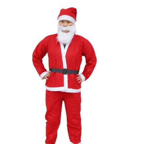 サンタクロース 衣装上下 帽子 髭 ベルト 5点セット コスチューム レッド 男女共用 着丈71cm