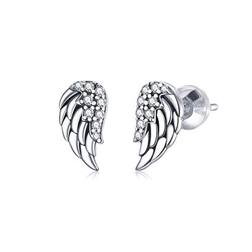 GDDX Sterling Silver Angel Wings Stud Earrings Cute Cubic Zirconia Earrings Jewellery For Women Girls (Silver)