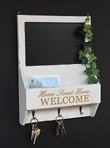 DanDiBo Wandorganizer Vintage Schlüsselbrett Holz mit Ablage 93751 Weiß 40cm Schlüsselboard Briefablage Kreidetafel Schlüsselkasten Shabby Chic Memoboard