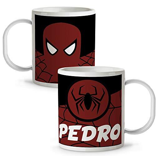 Taza Superhéroes Personalizada con Nombre | Plástico | Vuelta al Cole | Varios Diseños y Colores Interior | Spiderman