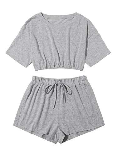 SOLY HUX Conjunto de camiseta y pantalones cortos para mujer de 2 piezas, camiseta corta, pantalón de cuello redondo, ropa deportiva gris claro S