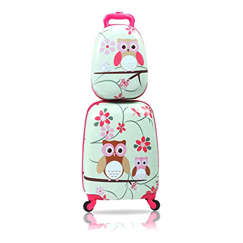 """Sandinrayli 2 Pcs Kid Luggage Set, 12"""" Backpack & 16"""" Kid Carry on Suitcase with Spinner Wheels, Travel Rolling Luggage for Girl"""