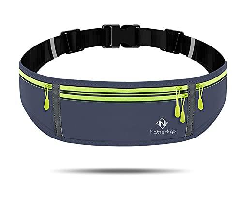 Natseekgo Cinturón de correr con correa elástica ajustable impermeable, cintura a prueba de sudor con gran capacidad, perfecto para correr y actividades al aire libre, Style 1-gray, Talla única,