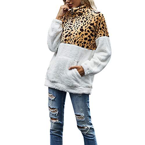Anaike Womens Zipper Turtleneck Fleece Jumper Long Sleeve Loose Fluffy Pullover Casual Outwear Sweatshirt with Pockets (Leopard Print, S)