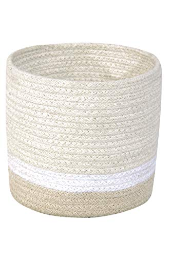 Lorena Canals - Cesta Mini Tricolor Ivory - Marfil, Blanco, Natural - 97 % algodón 3 % otras fibras - Ø15x15 cm