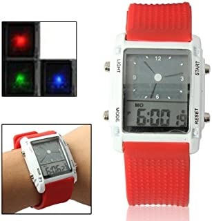 Lanbinxiang@  Dual LCD Display Colorful LED Digital Watch/Practical Chronograph Sports Watch, Both Men and Women Fashion (Color : Red)