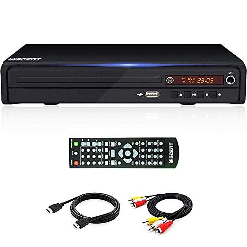 DVD-Player, Wiscent HDMI-DVD-Player für TV (Full HD,USB 2.0, Mediaplayer,Multiformat Wiedergabe mit xvid, MP3 und Jpeg,CD Ripping Funktion) Alle Regionsfreie Heim-DVD-Player