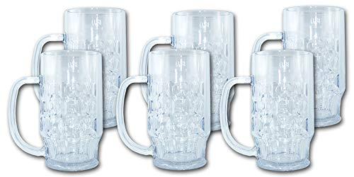 Unbekannt Bierkrug 0,3 Liter SAN Kunststoffglas 6 Stück - Hochwertige Mehrweg Bierkrüge im Sparset