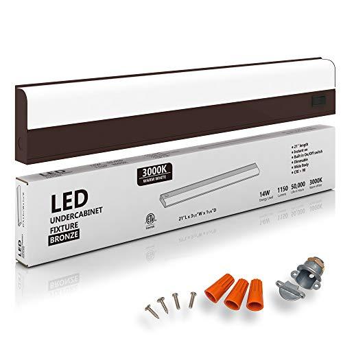 "Hardwired LED Under Cabinet Task Lighting - 14 Watt, 21"", 3000K (Soft White), Bronze, Wide Body, Long Lasting Metal Base with Frost Lens"