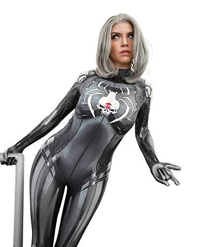 CXYGZLJ White Widow Femenino Spiderman Stretch Bodysuit Cosplay Etapa Traje Nio Cosplay Jumpsuit Traje Black Fancy Dress Traje,Child XL