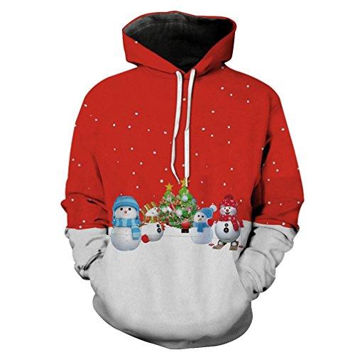 LvRao 3D Stampato Pullover Tops Tempo Libero Stile di Natale Festive Felpe Magliette Hoodies - Uomo (Pupazzo di Neve #Hoodies, Asia XL)