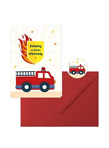 Edition SF Feuerwehr-Geburtstag: 10 Zauberhafte Einladungs-Klappkarten zum Kindergeburtstag im tollen Feuerwehr-Design mit roten Umschlägen, dazu 10 runde Aufkleber mit der kleinen Feuerwehr