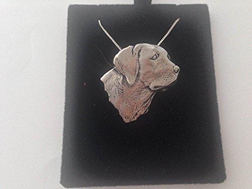 Colgante de cabeza de labrador A4, plata de ley 925, hecho a mano, cadena de 50,8 cm, con caja de regalo