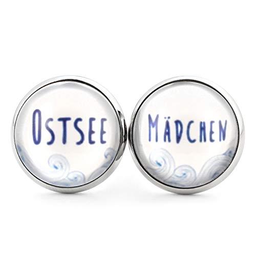SCHMUCKZUCKER Damen Ohrstecker Ostsee-Mädchen Edelstahl Ohrringe Silber Blau Weiß 14mm