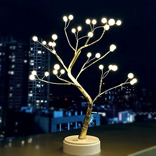 LIGHTOP Pearl Tree Bonsai Table Lamp 36LED Night Light DIY Adjustable Branches USB Battery Powered Gift for Girls and Women Home/Party/Wedding/Christmas Decorations (Warm White)
