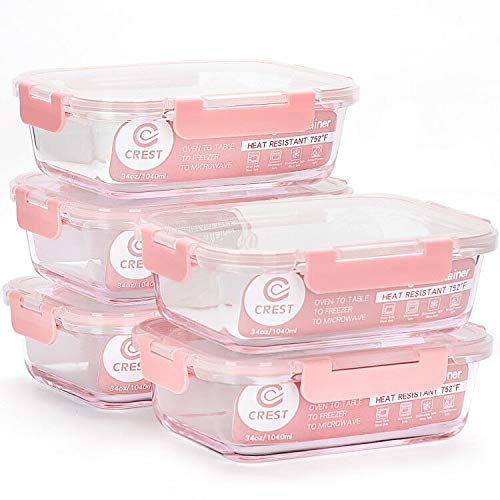 Glass Meal Prep Containers [5-Pack, 34Oz] - Food Storage Containers with LIFETIME Lids - Food Storage Containers for kitchen use Meal Prepping