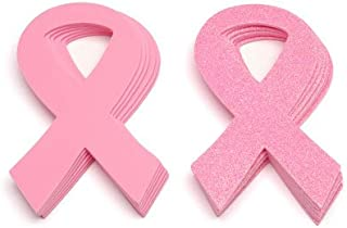 Set of 24 Large Foam Pink Ribbon Shapes