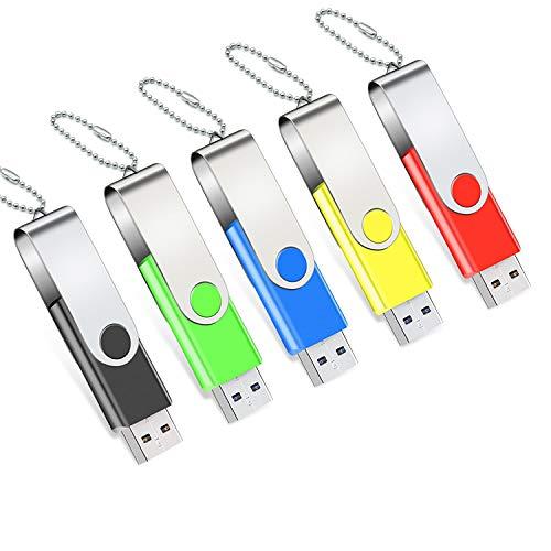 Pen Drive 16 GB Pacote com 5 USB 2.0 Thumb Drive Jump Drive Pen Drive Bulk Memory Sticks Zip Drives Giratórios com luz LED Design Chaveiro Amarelo/Vermelho/Azul/Verde/Preto (5 peças de cores sortidas)