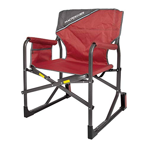 Mac Sports C2163A-100 MacRocker Foldable Outdoor Rocking Chair | Collapsible Folding Rocker Springless Rust-Free Anti-Tip Guard for Camping Fishing Backyard | Weight Capacity up to 225 lbs - Red