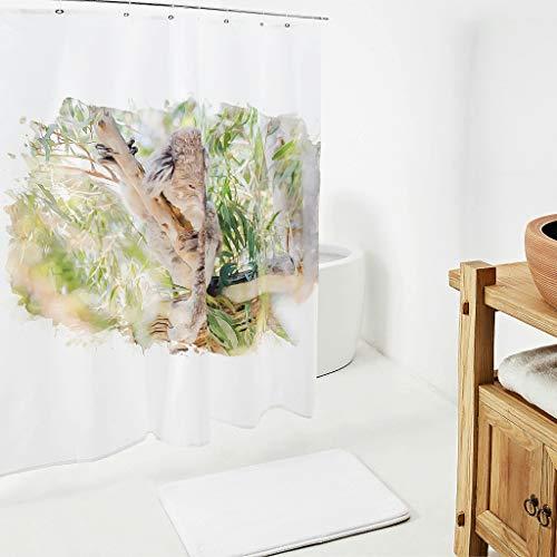 Charzee douchegordijn met koala-patroon, kleurvast douchegordijn voor badkamer