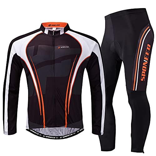 Sponeed Winter Cycling Gear Men's Bicycle Pants Jerseys Jacket Long Sleeved Road Biking Outfit Asian XXL/ US XL Multi