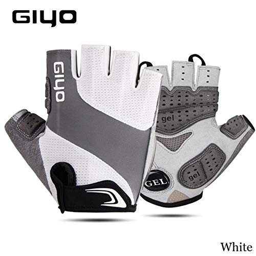 Bicycle Half Finger Gloves Breathable Lycra Fabric Men and Women Cycling Gloves Road Bike Gloves,White,XL