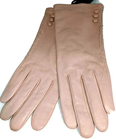 Ladies' Leather 3 Button With Lacing Gloves, Linen, Medium