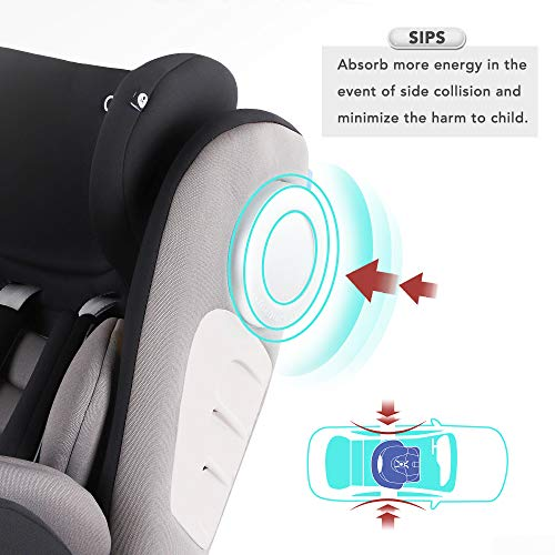 Bonio Baby Car Seat 360 Swivel ISOFIX Group 0+/1/2/3 (0-36 kg) with Detachable Sunshade Canopy (Black)