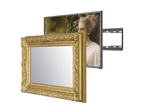 Handmade Framed Mirror TV with Samsung to Blend This Hidden Mirrored Television into Your Home or Business Decor (55 Inch, Barbican Gold)