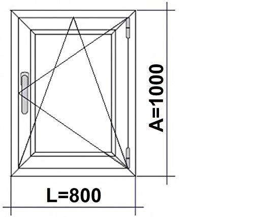 ECO-BLU V13M Finestra PVC Bagno 500 x 700 Oscilobatiente destro opaco, bianco