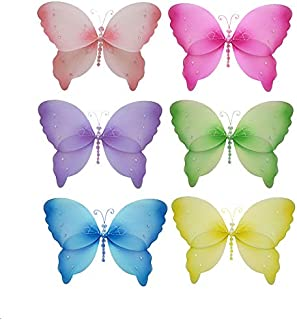 Butterfly Decorations 10 Medium Crystal Nylon Hanging Mesh Butterflies 6 Piece Set Decorate Baby Nursery Bedroom, Girls Room Ceiling Wall Decor, Wedding, Birthday Party, Baby Shower, Bathroom Child 3D Art by Bugs-n-Blooms