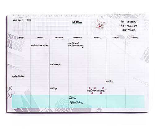 Wochenplaner block - Tischkalender zum abreißen A3 43x30 – Terminplaner für Termine und To do Liste