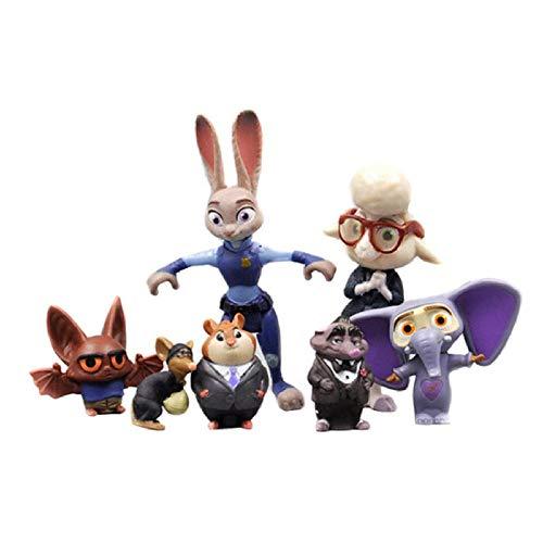 7 unids / Set Disney Pixar Zootopia Judy PVC Figuras de acción Modelo Animales Juguetes Figura de Anime Zootropolis Utopía muñeca Chico cumpleaños