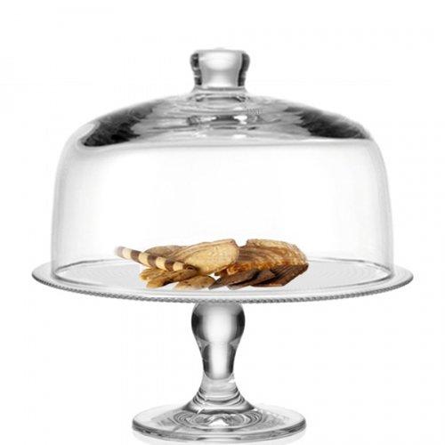 Leonardo campana Twenty 4 con botón 25 x 16 cm con plato para tartas con pie Set/2 unidades