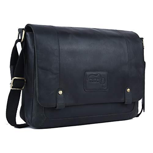 TUSC Charon Grau Leder Tasche Vintage Laptoptasche 15,6 Zoll 14 Zoll Herren Damen Unisex Umhängetasche Aktentasche Schultertasche für Büro Notebook Messenger Bag Laptop iPad, 38x28x9cm