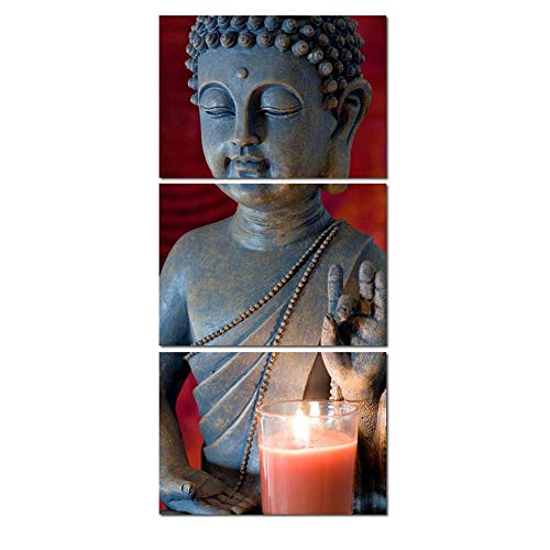 Wall Decor 3 Pieces Wall Art Modular Poster Framework Pictures 3 Pieces Buddha and Candle Hd Printed Modern Canvas Painting Home Decor Living Room