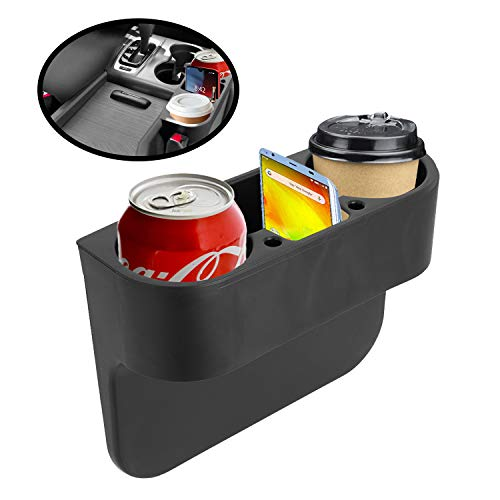 lebogner Cup Holder Gap Filler Between The Car Seat - Side of Center Console Drink Holder for Cups, and Bottles - Crevice Caddy Catcher with A Storage Organizer Area for Your Phone