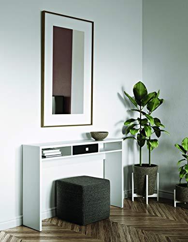 TEMAHOME Consola de Partículas de Melamina, Blanco/Negro, 120 x 28 x 79.2 cm