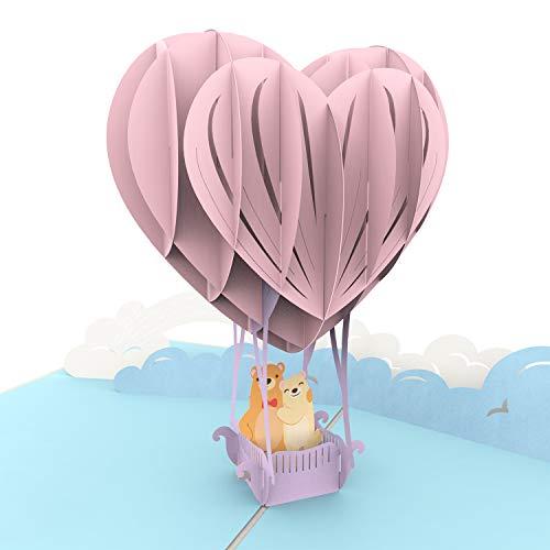 """PaperCrush® Pop-Up Hochzeitskarte """"Teddys im Heißluftballon"""" - 3D Karte als Gutschein für Ballonfahrt (Hochzeit, Geburtstag, Jahrestag, Hochzeitstag) - Lustige Liebeskarte für Frauen und Männer"""