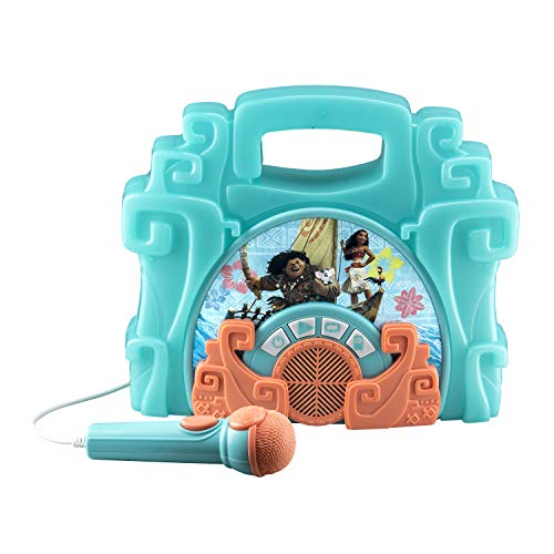 eKids Moana Sing Along Boom box Speaker with Microphone For Fans of Moana Toys, Kids Karaoke Machine with Built in Music and Flashing Lights