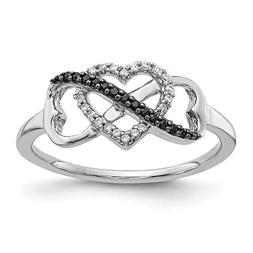 14k White Gold with White and Black Diamond Triple Heart Ring, Size 54