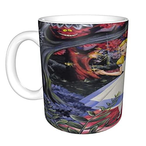 Taza de café divertida de Alicia en el país de las maravillas regalos para el día del padre para hombres, papá, abuelo, novedad de motocicleta, taza de café de cerámica, 325 ml, color negro