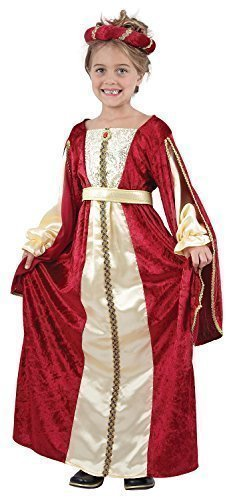 Fancy Me Rouge De Filles Riche Chic Tudor Médiéval Princesse Costume Déguisement 4-14 an - Rouge, 7-9 Years