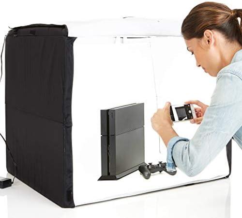 Amazon Basics Portable Foldable Photo Studio Box with LED Light – 25 x 30 x 25 Inches