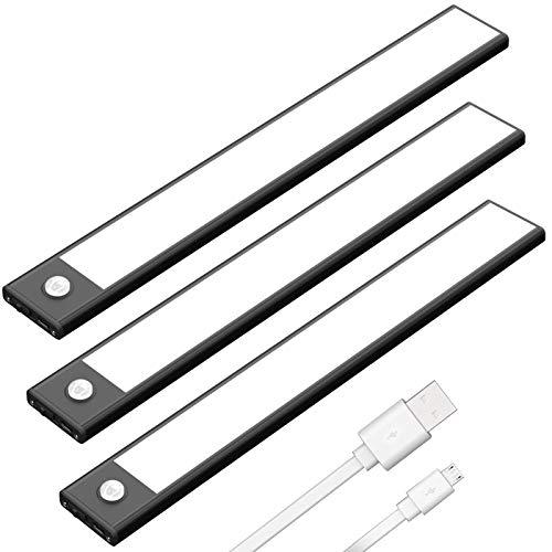Klighten 3 Stück Schrankleuchten mit Bewegungsmelder, 30cm LED Sensor Licht mit 53 LED, USB Wiederaufladbar Batterie Nachtlicht Schranklicht für Schrank Flur Küche, Auto/ON/OFF, Warmweiß, Schwarz