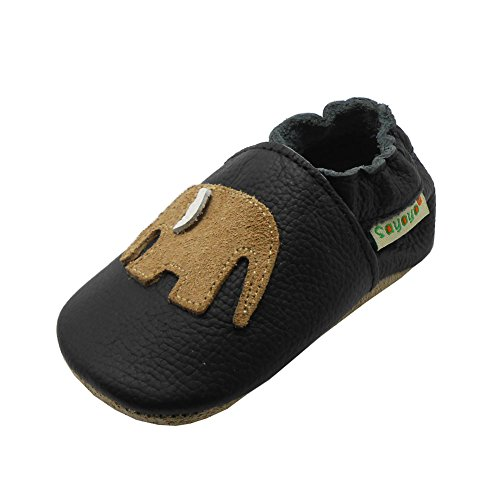 Sayoyo Babyschuhe für Jungen, Mädchen, weiches Leder, erste Schritte, - schwarz 2 - Größe: 19/20 EU
