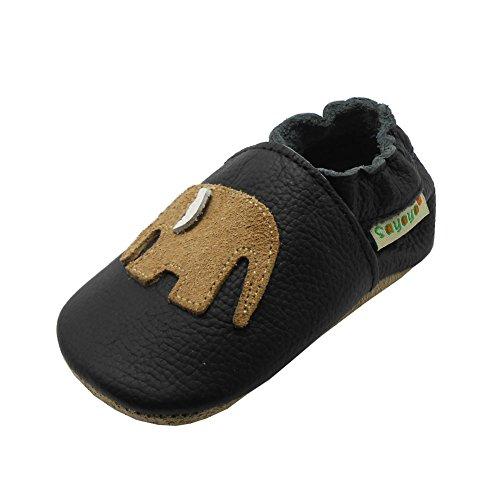 Sayoyo Babyschuhe für Jungen, Mädchen, weiches Leder, erste Schritte, - schwarz 2 - Größe: 17/18 EU