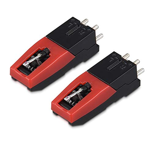 Navaris 2x Ersatz Tonabnehmer mit Nadel für Plattenspieler - Saphir Spitze Stahlnadel für 33 45 78 rpm Schallplatten - Ersatznadel Tonabnehmersystem