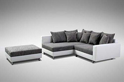 Küchen-Preisbombe Modernes Sofa Couch Ecksofa Eckcouch in Weiss Eckcouch mit Hocker - Minsk L